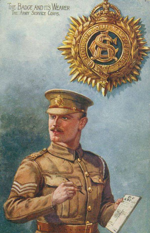 Image result for ww1 British soldier with service corps CAP BADGE