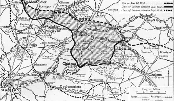 Map of ground won by German army in this battle