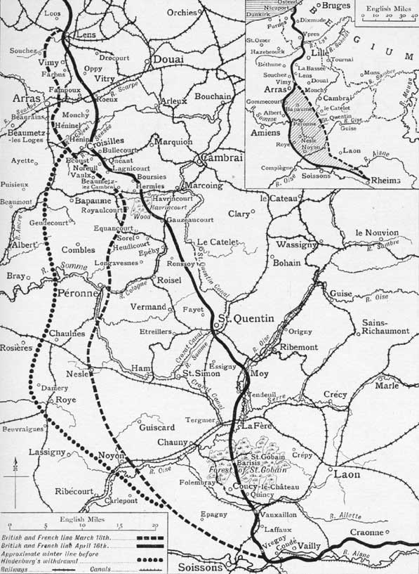 German retreat to the Hindenburg Line