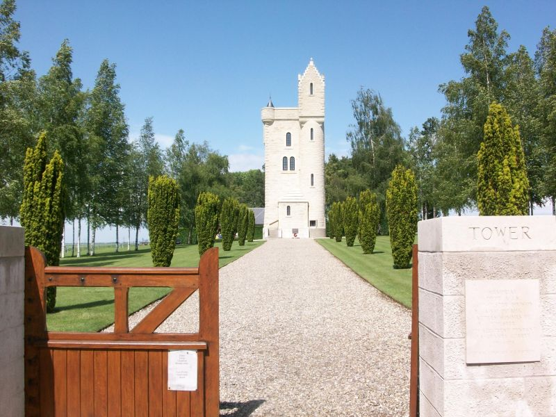 The Ulster Tower memorial , situated on the old German front line attacked by the 36th (Ulster) Division on 1 July 1916. A very popular spot on the Somme tourist trail for its memorials and views, but also in more recent times for a welcome tearoom.