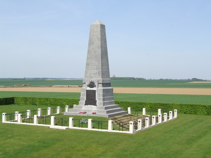 "The superb memorial to the 1st Australian Division, which stands on the site of the ""Gibraltar"" blockhouse at Pozieres, the scene of the Division's first experience of fighting on the Western Front. On the wooded horizon just to the right of the memorial, the vast Memorial to the Missing at Thiepval."