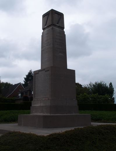 This memorial to the 7th Division, which lists their battle honours, stands at Broodseinde near Ypres. It marks the spot where the men of the Division first went into action in October 1914. A similar memorial stands on the bank of the River Piae, marking the commencement of the final offensive and the Division's exploit in crossing the river.