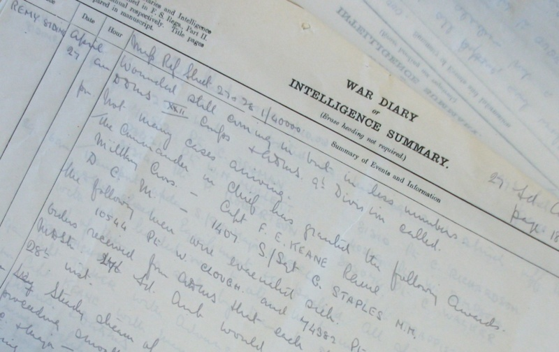 Part of the war diary of 27 Field Ambulance RAMC. National Archives WO95/1758. Crown Copyright.