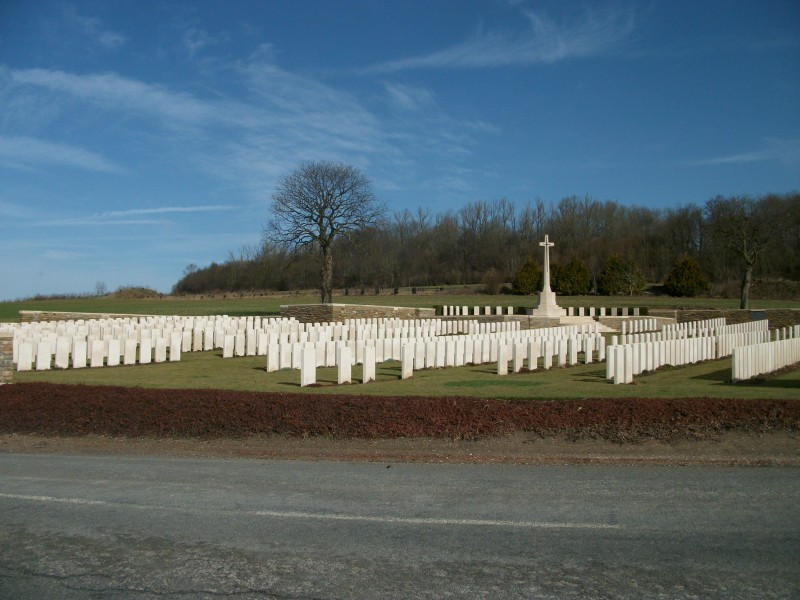 Dozens of British memorials and military cemeteries lie within a shortdistance of St-Quentin, like this one at Templeux-le-Guerard.