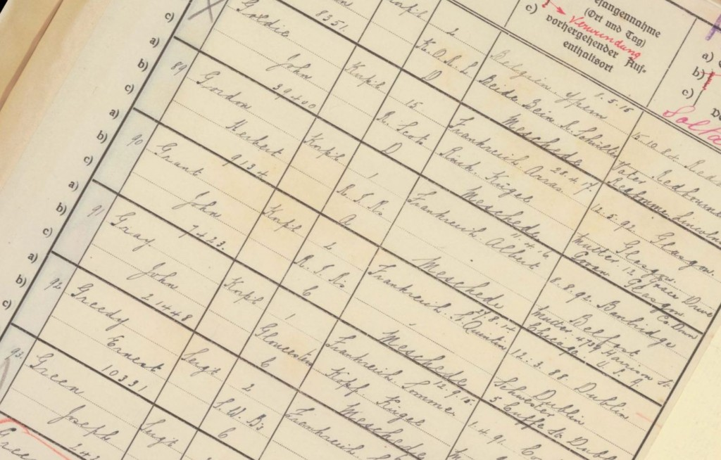 Extract from a German ledger, listing prisoners at a particular camp. Note the military and personal details provided. ICRC record PA15543.