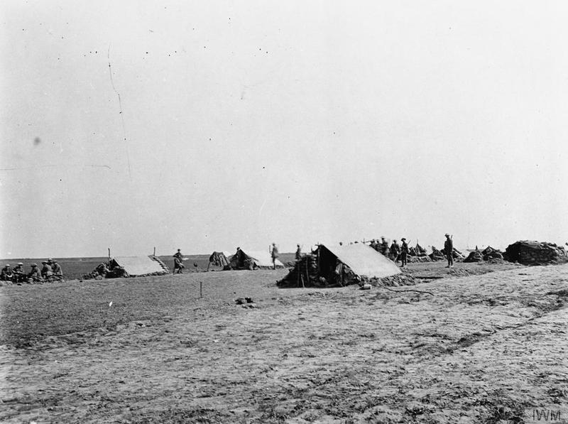 Entrenching Battalion Headquarters in Bus les Artois. May 1918. Imperial War Museum image Q19546