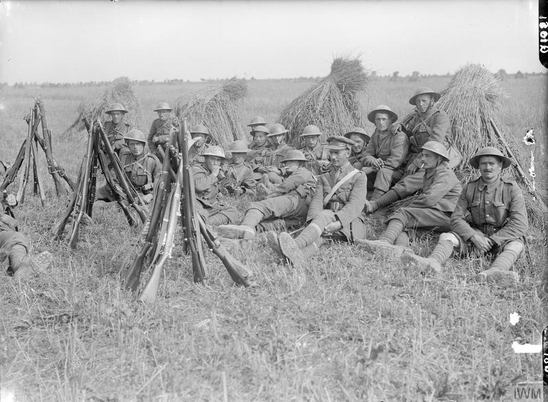 Lieutenant Baxter's Platoon, C Company, 1/7th Battalion, Worcestershire Regiment, resting in a cornfield near Lavieville, September 1916. Imperial War Museum image Q1081