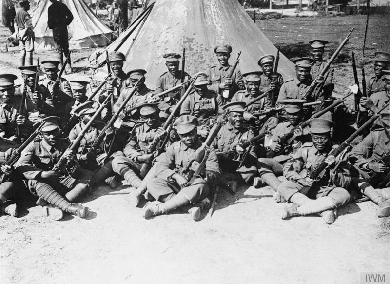 Troops of the British West Indies Regiment in camp on the Albert - Amiens road, Somme, September 1916. Imperial War Museum image Q1202