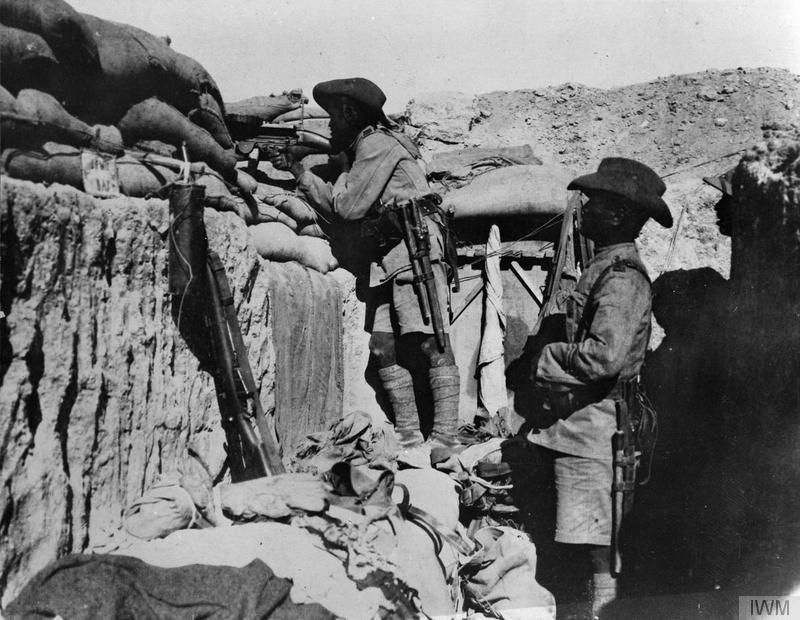 A Lewis gun emplacement in a trench held by the 3/3rd Ghurkha Rifles, 75th Division in Palestine. Imperial War Museum image Q12397B.