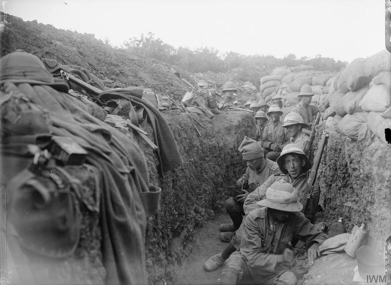 Troops of the 5th Battalion, Royal Irish Fusiliers (10th Irish Division) in the trenches of Gallipoli. Imperial War Museum image Q13444