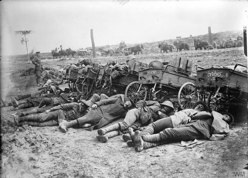 Lewis gun section of the 8th (Service) Battalion, Devonshire Regiment resting after an attack near Fricourt, August 1916. Imperial War Museum image Q1395