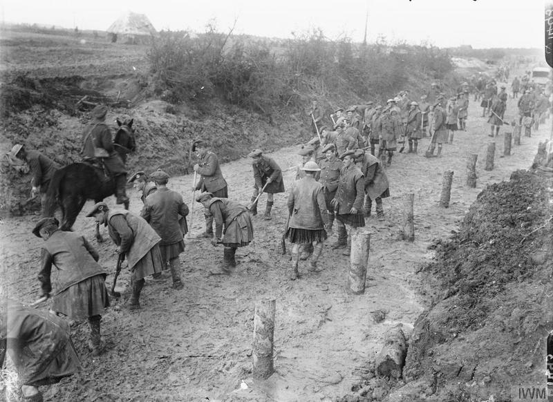 Gordon Highlanders, repairing a road; near Hamel, on the Somme front, September 1916. Imperial War Museum image Q1493