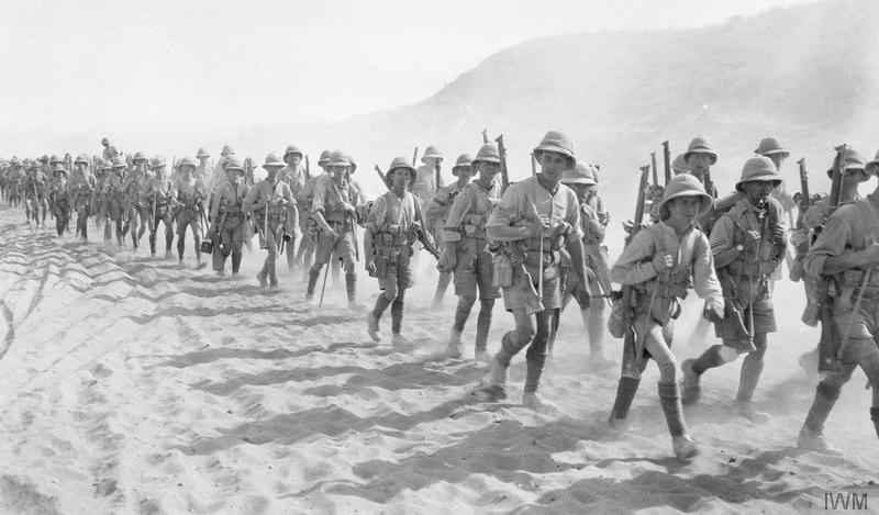 The 1/5th Buffs (East Kent Regiment) passing over the Jebel Hamrin, Palestine, December 1917. Imperial War Museum image Q24374