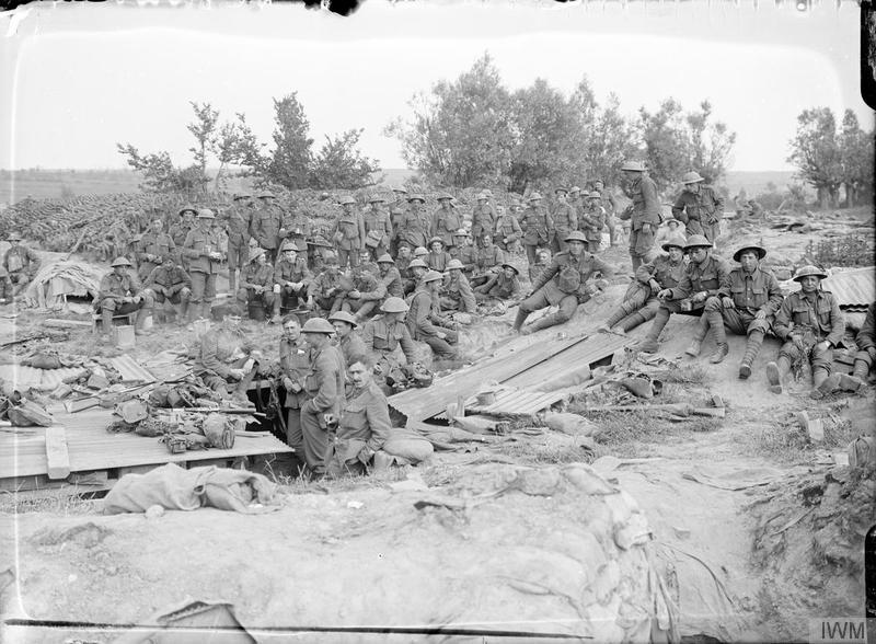 Troops of the 12th Battalion, East Surrey Regiment, who attacked on the first morning of the Battle of Messines (7 June), on 11 June 1917. Imperial War Museum image Q2819