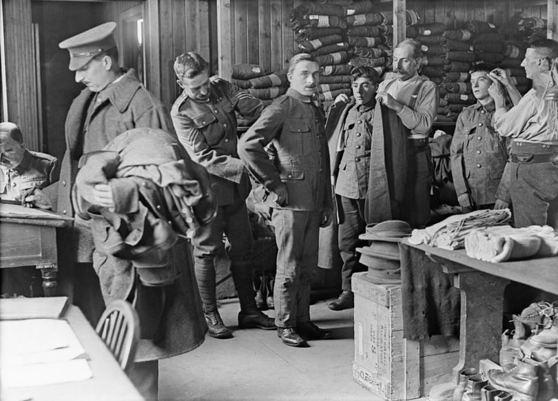 Recruits having their service uniforms fitted. Probably taken 1917. Imperial War Museum image Q30069.