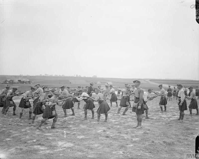 The Black Watch at bayonet practice during a rest period near Albert. August 1916. Imperial War Museum image Q4097