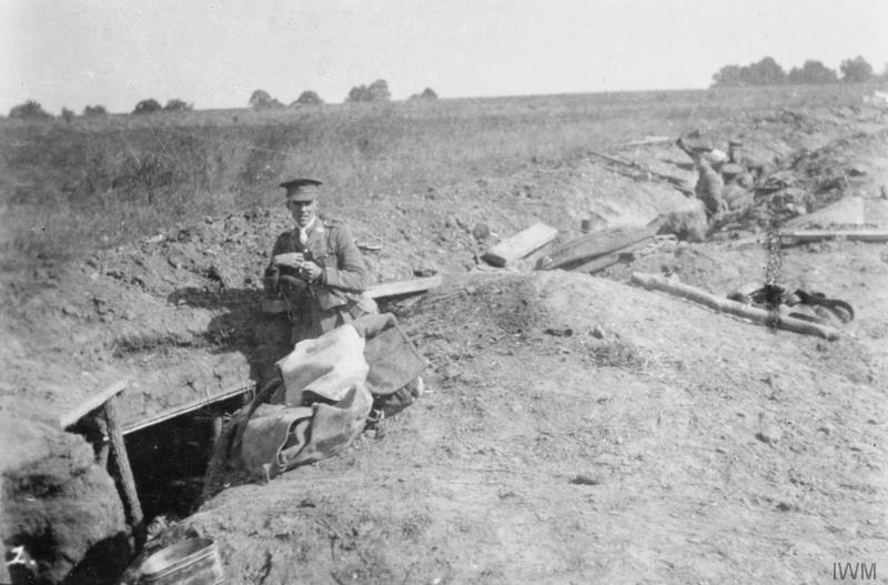 "Troops of the 1st Battalion of the King's Own in the front trench at St. Marguerite, 22 September 1914. The officer is Second Lieutenant R. C. Matthews, probably the CO of ""A"" Company. Imperial War Museum image Q51499"