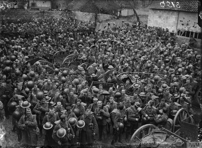 A battalion of the Loyal North Lancashire Regiment, 55th (West Lancashire) Division, parading for the trenches at Wailly near Arras, 17 April 1916. Imperial War Museum image Q518