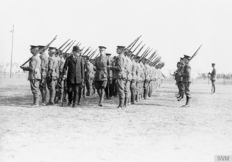 James Herbert Benyon, Lord Lieutenant of Berkshire, inspects men of the Royal Berkshire Regiment 4th Battalion, at Newbury Racecourse, October 1914. Imperial war Museum image Q53377