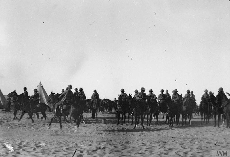 Suez Canal Defences. Berkshire and other Yeomanry of 6th Mounted Brigade, calling at Ashton Post. 1916. Imperial War Museum image Q57745.