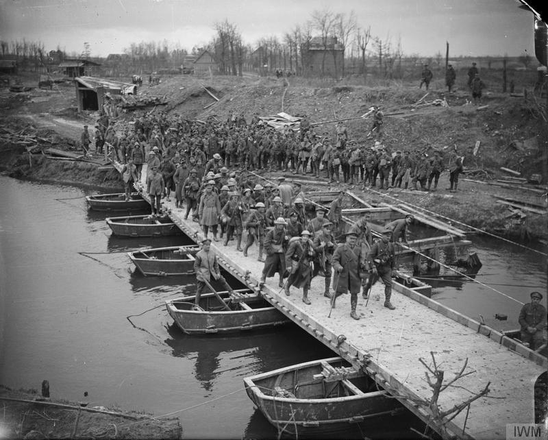 Imperial War Museum image Q5834. British troops marching over a newly-constructed pontoon bridge over the River Somme at Peronne, 22 March 1917.