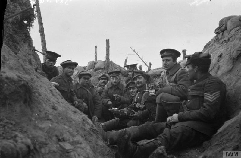 Troops of the Royal West Kent Regiment in a front line trench near Ypres, March-April 1915. Imperial War Museum image Q61569