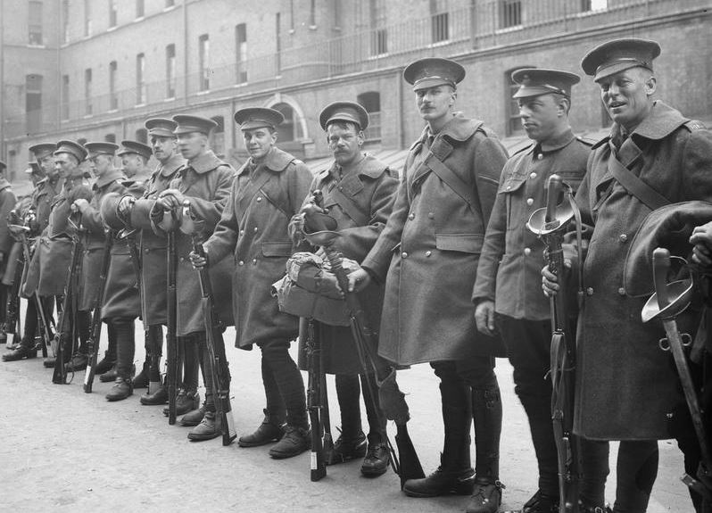 A cavalry draft. Blues Royal Horse Guards dismounted. Imperial War Museum image Q66195.