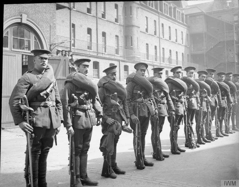 A dismounted cavalry draft of the 1st Life Guards. Imperial War Museum image Q66196.
