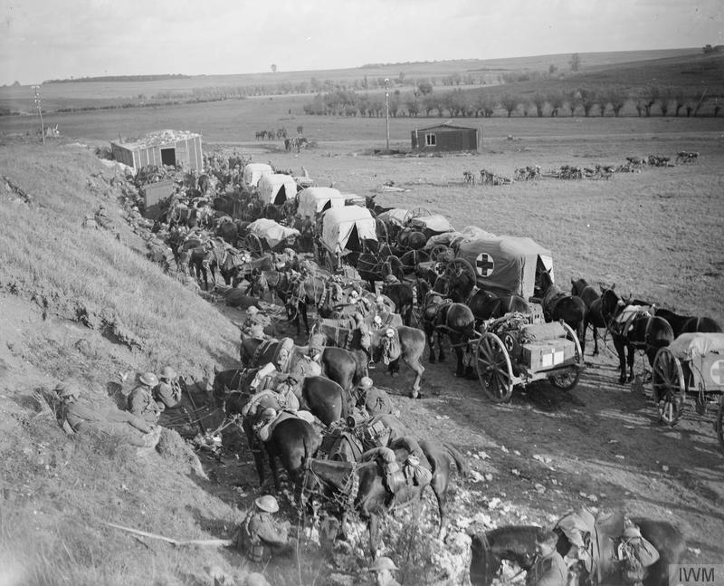 Imperial War Museum image Q7157.  Men and transport of the 1st Cavalry Division waiting in readiness near Premont, 8 October 1918. Note the Cavalry field ambulance.
