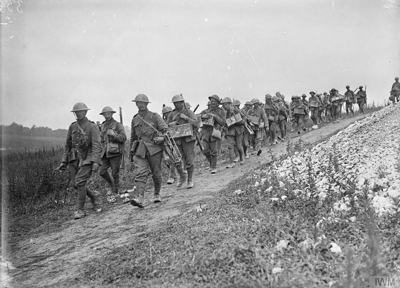 Bomb carrying party of the 1st Battalion, Sherwood Foresters (Nottinghamshire & Derbyshire Regiment) going up to the front line at La Boisselle, 6th July 1916. Imperial War Museum image Q780