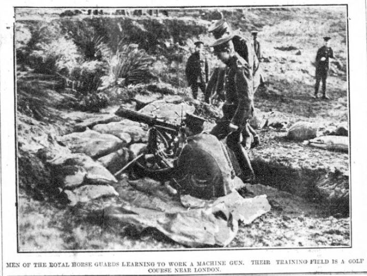 """Printed in the """"Larne Times"""", 4 March 1916. A detachment of the regiment's reserve training in the use of the machine gun."""