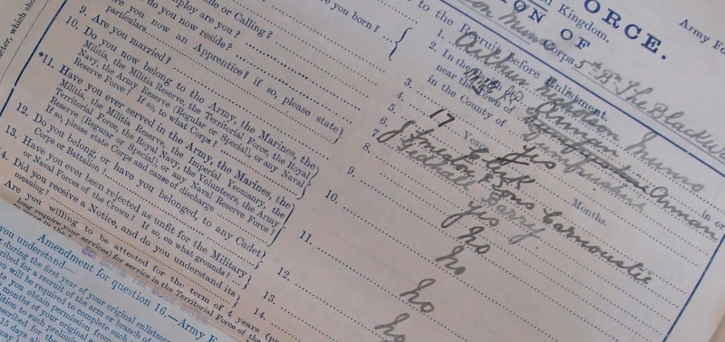 Snip from a page of the service record of Arthur Nicholson Munro MC. National Archives WO339/46859. Crown copyright.