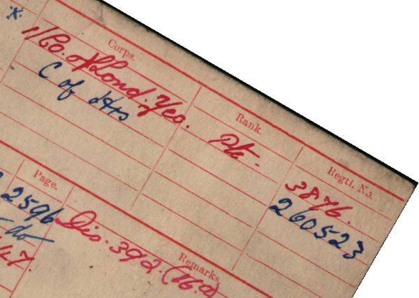 Detail from the campaign medal index card of Albert Abbott of the 1st County of London Yeomanry.  Crown copyright. Abbott's card shows his new number, issued in 1917.