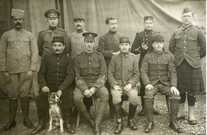 From the same collection as the image above is this group of soldiers. They look remarkably clean and tidy, suggesting this may have been taken for publicity. The range of nationalities and uniforms is striking.