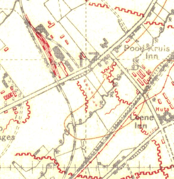 """This map of July 1918 shows the railway line coming up from Remy (below the map) and bending to cross the Steenvoorde to Poperinge road. Just north of the road, where the siding is shown, is Hopoutre. Note the """"Leene"""" inn: it was also known as """"In der Leene Cabaret"""". It is still on this site, seen by the many visitors who go to the large military cemetery at Remy Farm (Lijssenthoek)."""