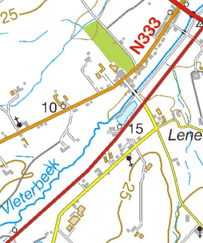 No sign of the railway or the Hopoutre siding today, although the line of the old railway from can be traced by the building of the modern (red) road which took its place. The line to Hopoutre curved off to the left of what is now a small lake.