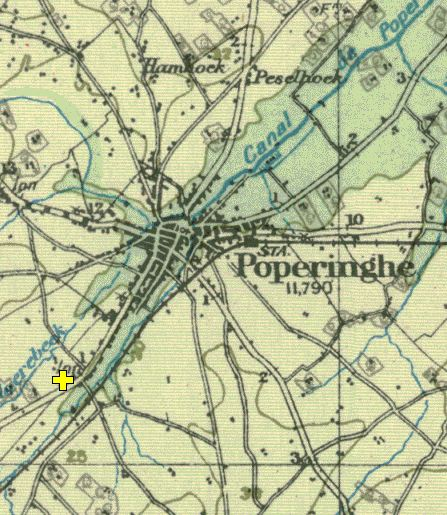The yellow cross marks the location of Hopoutre. Another important halt was made at Peselhoek, top of this map.