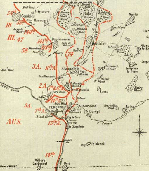 Map from the British Official History of Military Operations, France and Flanders, 1918. Crown Copyright. This map shows the advance of Fourth Army in the Second Battles of the Somme, 1918.