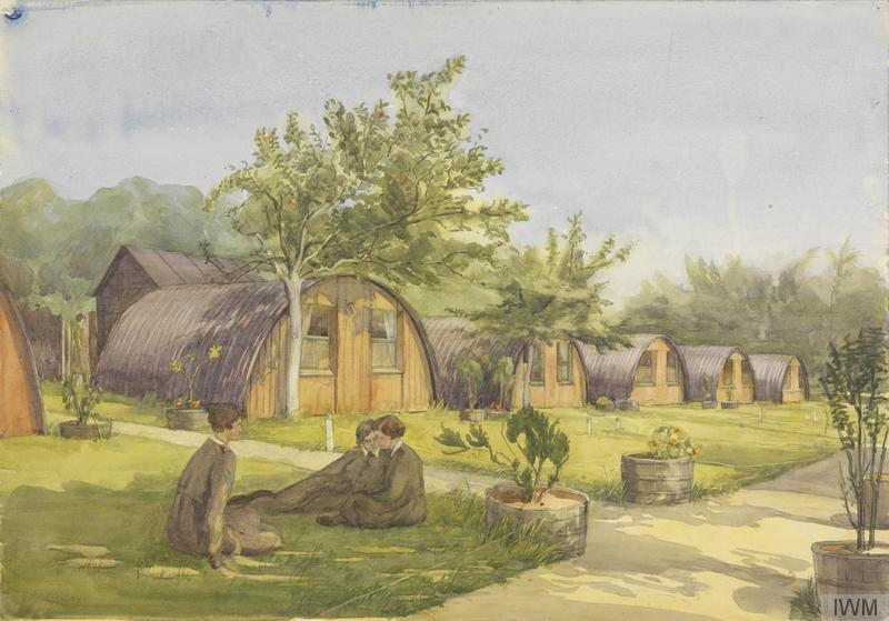 """Watercolour """"view of a row of Nissen huts set in a sunlit landscape of grassy lawns, fruit trees, and plants in large barrel pots. In the foreground, three young women in khaki uniforms relax on the grass"""" by Beatrice Lithiby OBE. Imperial War Museum collection ART2986. The huts would be typical of work of an Artizan Works Company and are apparently at Dieppe."""