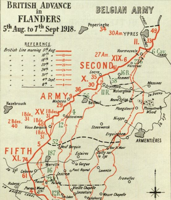Part of a map from the British Official History of Military Operations, France and Flanders 1918. Crown Copyright.