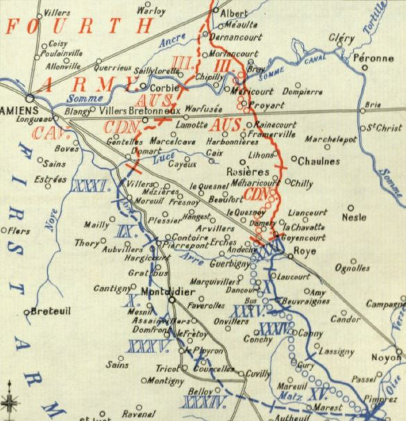 Part of a map from the British Official History of Military Operations, France and Flanders, 1918. This map illustrates teh deep advance made by the British Fourth Army and French First Army between 8 and 20 August 1918.