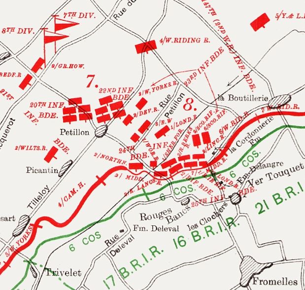 Part of a map from the British Official History of Military Operations, France and Flanders, 1915 volume II, showing the disposition of units in the northern pincer. Crown copyright.