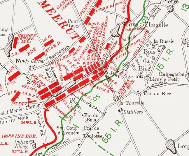 Part of a map from the British Official History of Military Operations, France and Flanders, 1915 volume II, showing the disposition of units in the southern pincer. Crown copyright.