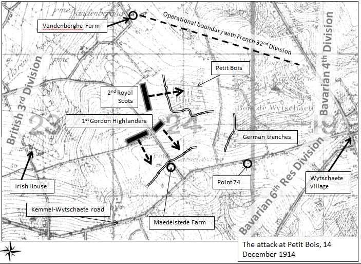 "The attack made by 8th Brigade. Extract of map from ""The truce: the day the war stopped"" by Chris Baker (Amberley, 2014)"