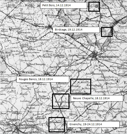 "Extract of map from ""The truce: the day he war stopped"" by Chris Baker (Amberley, 2014)"