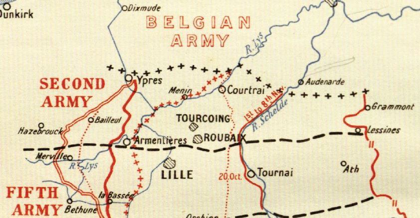 Extract from a map contained in the British Official History of Military Operations, France and Flanders, 1918, volume 5. Crown Copyright.