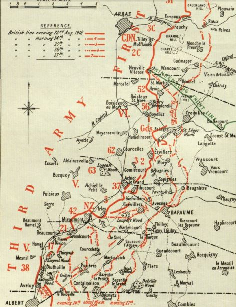 Extract from a map included in the British Official History of Military Operations, France and Flanders, 1918. Crown copyright. This map shows progress in the period 23-27 September 1918
