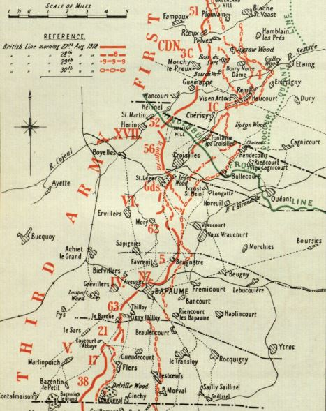 Extract from a map included in the British Official History of Military Operations, France and Flanders, 1918. Crown copyright. This map shows progress in the period 27-30 September 1918