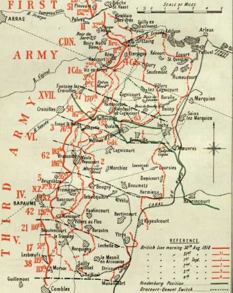 Extract from a map included in the British Official History of Military Operations, France and Flanders, 1918. Crown copyright. The map shows continued progress up to 4 September 1918.