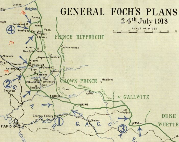 Part of map included in British Official History of Military Operations, France and Flanders 1918. Allied Generalissimo Ferdinand Foch's concept of four operations to squeeze out enemy-held salients on the Marne (1), Somme (2), St Mihiel (3) and Flanders (4). Offensive operations begin with the attack on the Marne.